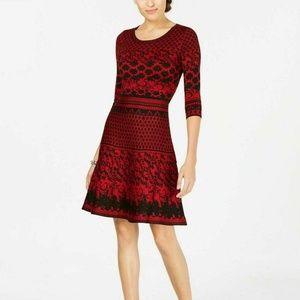 Taylor L Red Sweater Dress 6AQ33